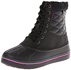 crocs Women s AllCast Waterproof Duck Boot Black/Viola 4 B(M) US