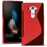 Conie SC15966 S Line Case Kompatibel mit LG G3s, TPU Smartphone Hülle Transparent Matt rutschfeste Oberfläche für G3s Rückseite Design Rot