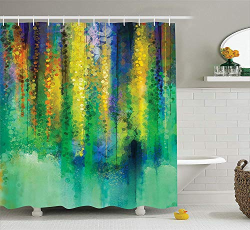 wer Decor Shower Curtain Set, Abstract Style Spring Floral Watercolor Style Painting Image Nature Art Decor, Bathroom Accessories, 72x72 inches, Green Yellow ()