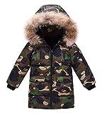 Winterjacke mit Kapuze Kunstfell Camouflage Daunenjacke Steppjacke Wintermantel Parka Cotton Jacket Outerwear für Jungen Mädchen Grün 150