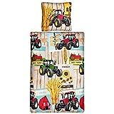 Aminata Kids - Kinder-Bettwäsche-Set 135-x-200 cm Traktor-Motiv Trecker Bauernhof Fahrzeug-e Bauernhof Auto-s Jahr-e 100-% Baumwolle Renforce rot gelb bunt-e Teenager Jugendlich-e