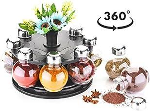 ATMAN 360 Degree Plastic Revolving Round Shape Spice Rack(Transparent) - Pack of 8 Jars