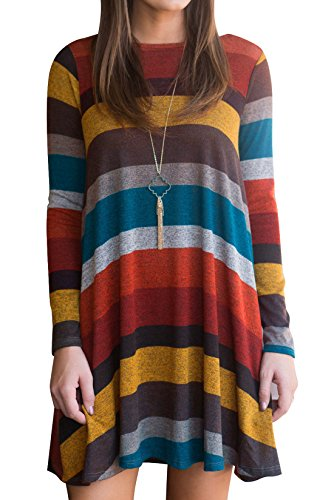 KorMei Damen Langarm Casual Tasche Loose T-Shirt Kleid A-Linie Tunika Mini Kleid Bunte M