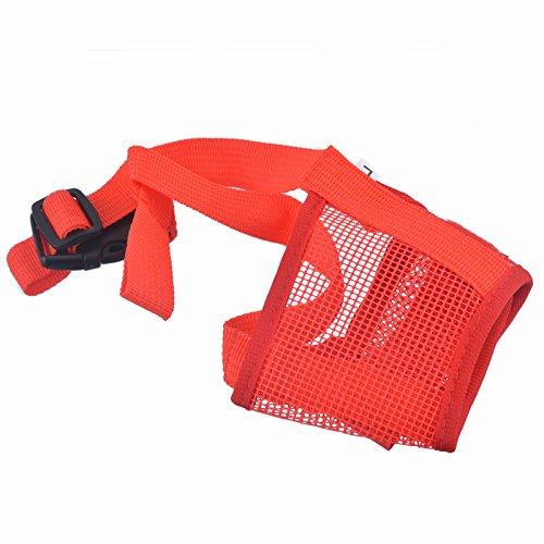 lazzykit Maulkörbe verstellbar und atmungsaktiv Beatmungsmaske für die Verhütung und Bisse Kauspielzeug für Hunde anti-mordant Nylon, rot, L