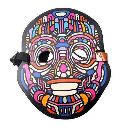 JK Sound Reactive LED Maske, beleuchtet Musik Maske, gruselige Cool Light Maske für Festival, Party, Halloween, Karneval, Tanzball, Maskenaden, Cosplay DJ Maske one size for all Yrobot