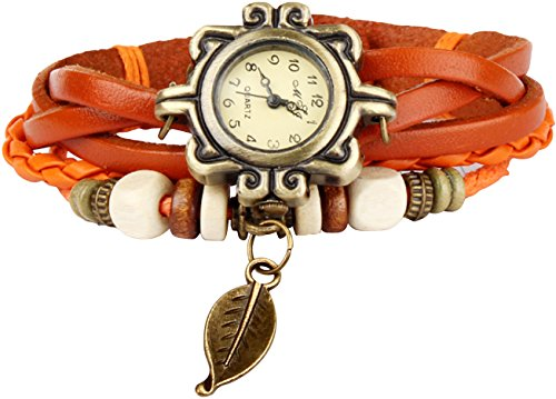 GPCT da donna Vintage, fatto a mano in foglia Orologio Arancione