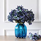 Unbekannt WQQ Wild Lily graues Glas Glasvase Home Wohnzimmer Seidenblume Simulation Blumenvase (12 künstliche Blumen senden, die Farbe Wird zufällig gesendet) (Farbe : B)