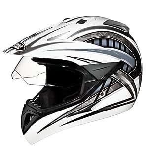 Studds Motocross D2 Helmet With Visor (White N4, M)