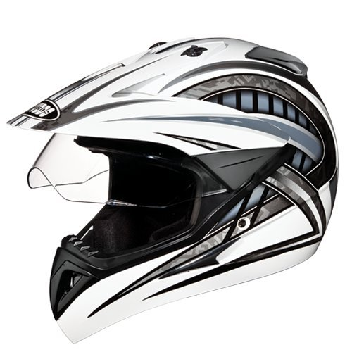 Studds Motocross D2 Helmet With Visor (White N4, L)