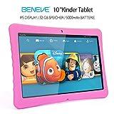 "BENEVE 10 Kinder Tablet, 10,1"" 1080P Full HD Display Android 7,0, 2GB + 32 GB, Dual-Kamera Front 2MP + Rear 5MP, Bluetooth und WiFi-Rosa"