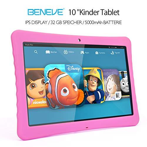 "BENEVE 10 Kinder Tablet, 10,1\"" 1080P Full HD Display Android 7,0, 2GB + 32 GB, Dual-Kamera Front 2MP + Rear 5MP, Bluetooth und WiFi-Rosa"
