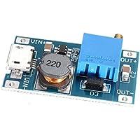 HiLetgo® 5pcs 2A DC-DC Boost Convertidor de tensión regulador de voltaje estabilizador ajustable fuente de alimentación DC 2V-24V a 5V-28V 9V 12V 24V con entrada micro USB