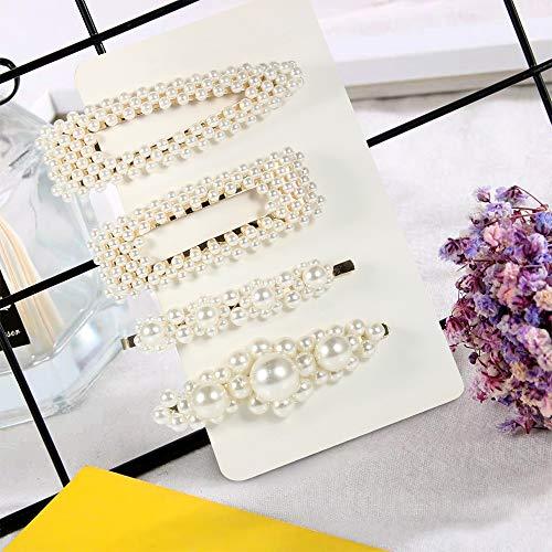 4 Stück Perlen Haarspange Damen & Mädchen Haarspangen Weiß Perle Haarspangen Vintage Haarnadeln Perlen Haarspangen für Hochzeit &besondere Anlässe ...