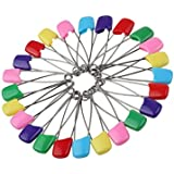 "Assorted Color 100paquetes 2.2""bebé niño infantil Kids pañal bolsa para pañales imperdibles cabeza de plástico de bloqueo Cloth Seguridad Pins Clip Holder"