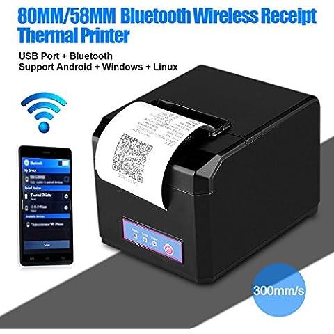 Excelvan Bluetooth 80MM Taglio Automatico Stampante Termica per Ricevute Stampanti a Matrice per Android, Windows, IOS