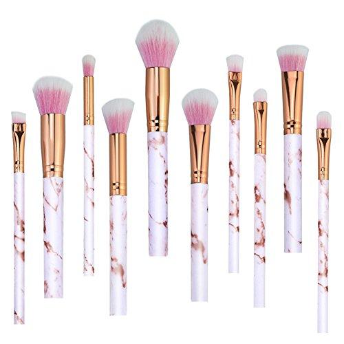 AKAAYUKO 10PCS Kit de Pinceau Maquillage Professionnel Blush Pinceau Poudre Brush Fard à paupières Sourcils -Rose doré