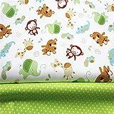 2 piezas de tela de algodón de 160 x 100 cm cada una, de Fuya, con diseño de monos y lunares, ideal para manualidades con ropa de bebé, vestidos, sábanas, etc.