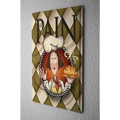 Cartel de chapa Placa metal tin sign Decoración Restaurante De Comida Panadería panadero pan francés Letrero De Metal 20X30 cm