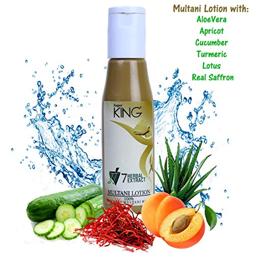 Super King (Aloevera, Apricot, Haldi, Lotus, Cucumber) Multani Mitti Lotion Pack with 7-Herbal Extracts & Saffron,(SLES sulfate free), 120ml (Pack of 1)  available at amazon for Rs.355