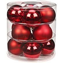 12 Christbaumkugeln GLAS 75mm // Weihnachtskugeln Baumkugeln Baumschmuck Weihnachtsdeko Kugeln Glaskugeln Dose, Farbe:Ruby Red ( bordeaux - rot )
