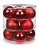 Christbaumkugeln Glas 75mm//Weihnachtskugeln Weihnachtsschmuck Weihnachtsdeko Baumkugeln Baumschmuck Christbaumschmuck Kugeln Glaskugeln Dose, Farbe: Ruby Red (Bordeaux - Rot)
