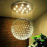 Die beleuchtung Kronleuchter aus Kristall, Zyklus LED duplex Treppenhaus moderne Schlafzimmer Clothing Store salon K9 Crystal Ball Innenbeleuchtung (Farbe: 3-Farben-LED-80 cm).