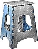 STARK Sgabello pieghevole con maniglia per bambini e adulti. Poggiapiedi Ultra Resistente fino a 120 kg, altezza 44 cm in grigio-blu per cucina, bagno, giardino, casa