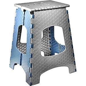 STARK Hocker/Klapphocker/Tritthocker mit Griff, zusammenklappbar, bis 120 kg, Höhe 44 cm in grau- blau für Küche, Bad…