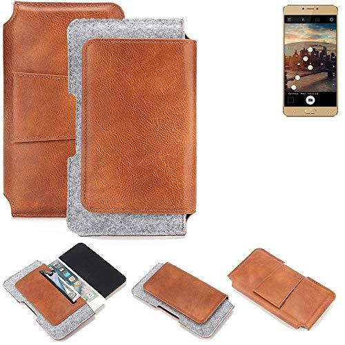 K-S-Trade Allview X3 Soul Plus Gürteltasche Schutz Hülle Gürtel Tasche Schutzhülle Handy Smartphone Tasche Handyhülle PU + Filz, braun (1x)
