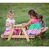 TIMBELA Table Pique-Nique Enfant en Sapin 90x90xh50 cm
