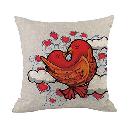 POachers Happy Valentine Federe per cuscini in cotone e lino Cuscino per divano Home Decor I