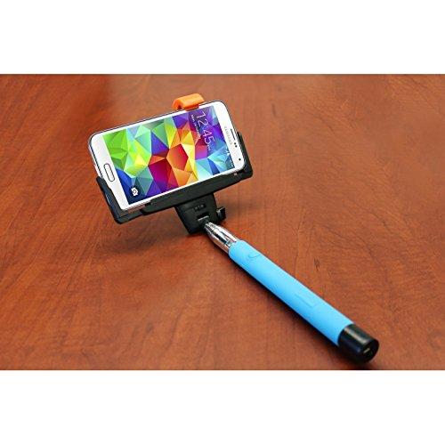 Photron Selfie Stick SLF300BT Extendable Wireless Monopod with inbuilt BlueTooth Remote Shutter, With adjustable Phone Holder, BLACK / BLUE