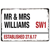 Personalised Wedding Metal Road Mr and Mrs Sign - Vintage Style - Large 200x300mm