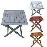 Promafit Klapptisch aus Holz Dionysos - perfekt für den Balkon oder Camping - Eukalyptus Massivholz - Beistelltisch - Gartentisch - klappbar - Vintage - Retro - viele Farben - Gitteroptik (Grau)
