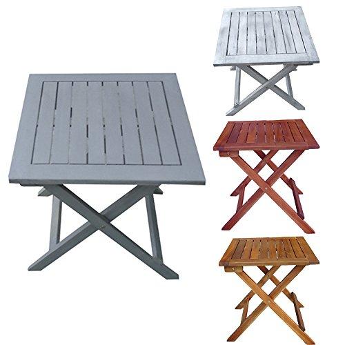 Promafit Table d appoint Pliable en Bois Dionysos - Table Basse Pliante en Bois - Tables Jardin d'appoint - Bois d'eucalyptus - pilant - 4 Couleurs - résistant aux intempéries (Gris)