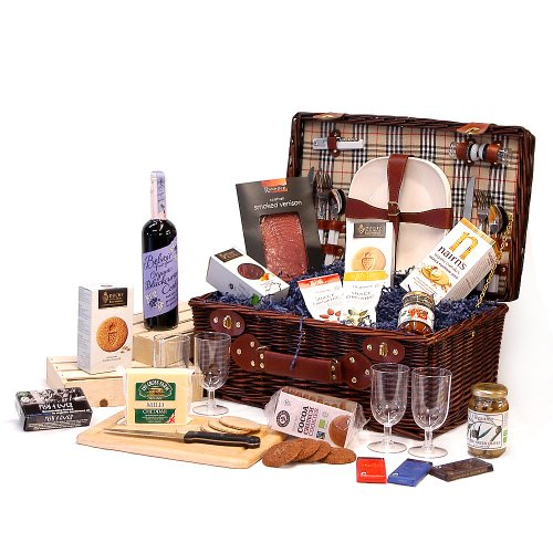 Bromley 4 Person Chiller Picnic Hamper Basket with an Organic Fine Food Selection - Gift ideas for Mother's Day, Birthday, Anniversary and Congratulations Presents