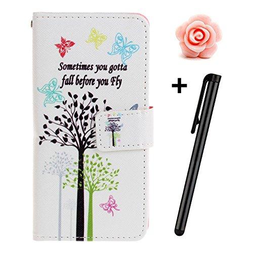 Custodia iPhone 7, custodia iPhone 7S a portafoglio, prodotto Toyym di alta qualità, decorazione con fiori/animali/personaggi, in ecopelle [chiusura magnetica] con tasche per carte, per iPhone Apple 7 Tree and Butterfly