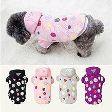 Ropa de abrigo suave con capucha para mascota perro gato ajustable permeable al aire (ROSA, L)