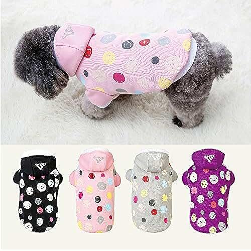 regalos tus mascotas mas kawaii Ropa de abrigo suave con capucha para mascota perro gato ajustable permeable al aire (MORADO, L)