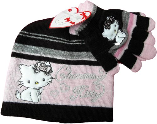 Charmmy Kitty Winterset von Hello Kitty Sanrio - Silberherz - Schwarz/Rosa - Teen Hello Kitty