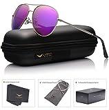 LUENX Aviator Polarizadas Gafas de sol estuche para gafas con para hombre – UV 400 protección colores espejo 60 mm morado Lente Marco de Plateado
