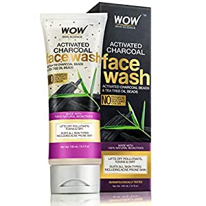 WOW Activated Charcoal infused with Activated Charcoal Beads No Parabens & Sulphate Face Wash (100mL)