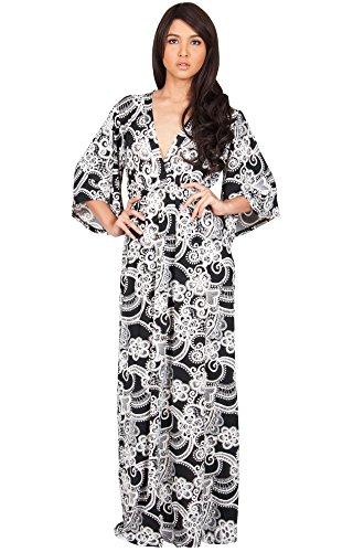 KOH KOH® Damen Petite Elegantes Langes Cocktail Kleid mit Floral Kimono Ärmeln Maxi Abendkleid, Farbe Schwarz, Größe XS / Extra Small (Halloween Maternity Cute Kostüme)