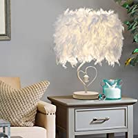 Surpars House Heart Shape White Feather Deco Desk Lamp Crystal Bedside Table Lamp by Surpass Lighting