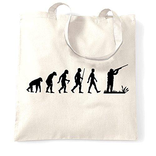 Tiro Sacchetto Di Tote Evoluzione del Tiro al piattello divertente Darwin Parody White