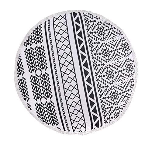 CYYCY Geometrisches Muster gesäumt Strandtuch runden Druck Kissen Sonnencreme schwarz und weiß Geometrie 150cm