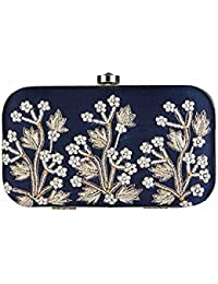 Tooba Handcrafted WT6 Women's Box Clutch (Navy Blue)