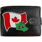 Kanada Flagge KLASSEK Herren Geldbörse Portemonnaie Brieftasche Kanadier Wappen aus echtem Leder schwarz Canada Geschenk Präsent Mit Metallbox
