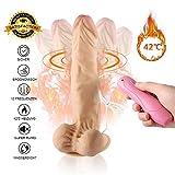 MEROURII Real Dong Penis (22.5cm) mit Heizfunktion - 360°Rotierender Realistischer Dildo mit Hoden & Saugnapf - Silikon Realistische Vibratoren Sexspielzeug