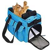 HAPPY HACHI Bolsa para Mascotas Perro Gato para Viaje Transporte Coche Cómodo Seguro Talla Mediana Pequeña Portador de Mascotas Azul